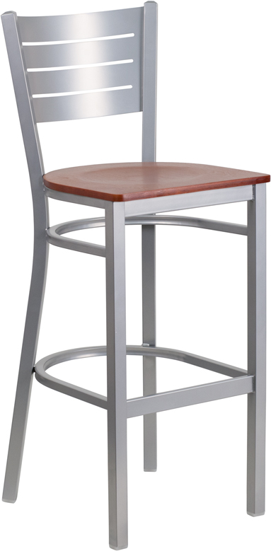ERGONOMIC HOME TOUGH ENOUGH Series Silver Slat Back Metal Restaurant Barstool - Cherry Wood Seat <b><font color=green>50% Off Read More Below...</font></b>