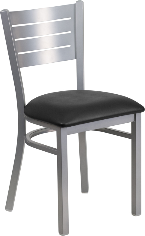 ERGONOMIC HOME TOUGH ENOUGH Series Silver Slat Back Metal Restaurant Chair - Black Vinyl Seat <b><font color=green>50% Off Read More Below...</font></b>