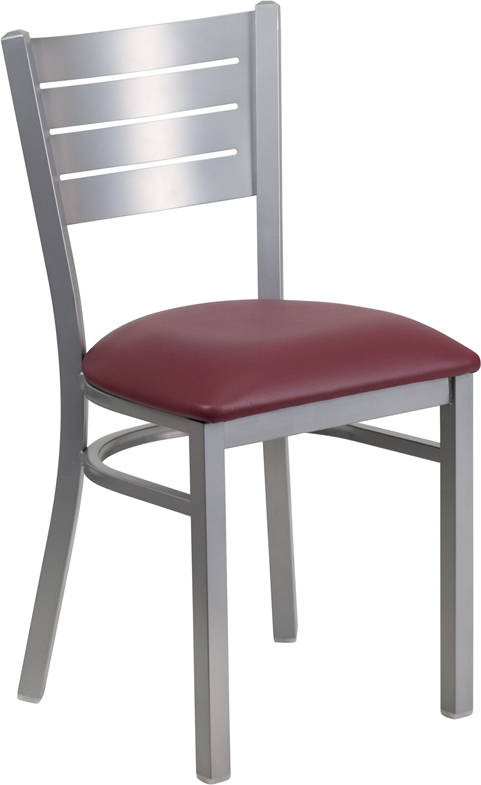 ERGONOMIC HOME TOUGH ENOUGH Series Silver Slat Back Metal Restaurant Chair - Burgundy Vinyl Seat <b><font color=green>50% Off Read More Below...</font></b>