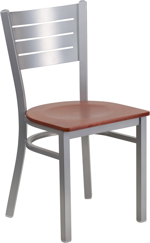 ERGONOMIC HOME TOUGH ENOUGH Series Silver Slat Back Metal Restaurant Chair - Cherry Wood Seat <b><font color=green>50% Off Read More Below...</font></b>
