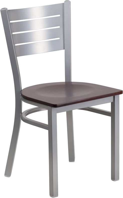 ERGONOMIC HOME TOUGH ENOUGH Series Silver Slat Back Metal Restaurant Chair - Mahogany Wood Seat <b><font color=green>50% Off Read More Below...</font></b>