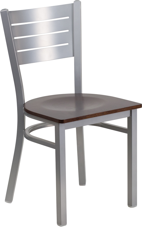 ERGONOMIC HOME TOUGH ENOUGH Series Silver Slat Back Metal Restaurant Chair - Walnut Wood Seat <b><font color=green>50% Off Read More Below...</font></b>