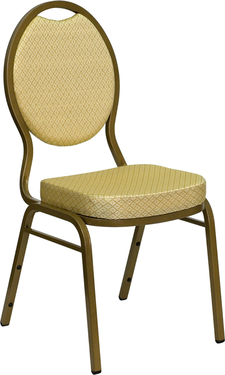 HERCULES Series Teardrop Back Stacking Banquet Chair with Beige Patterned Fabric and 2.5'' Thick Seat - Gold Frame