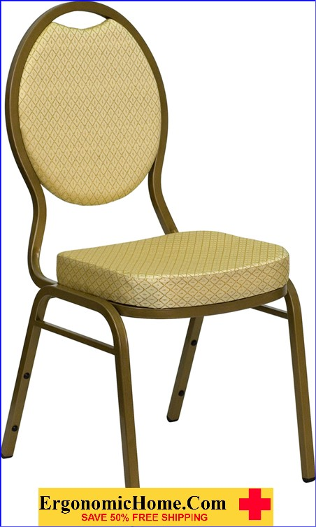 Ergonomic Home TOUGH ENOUGH Series Teardrop Back Stacking Banquet Chair with Beige Patterned Fabric and 2.5'' Thick Seat - Gold Frame EH-FD-C04-ALLGOLD-2811-GG .