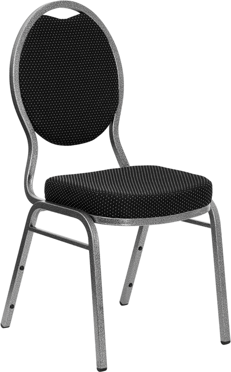 HERCULES Series Teardrop Back Stacking Banquet Chair with Black Patterned Fabric and 2.5'' Thick Seat - Silver Vein Frame
