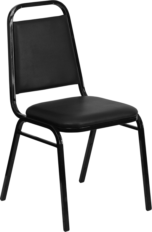 HERCULES Series Trapezoidal Back Stacking Banquet Chair with Black Vinyl and 1.5'' Thick Seat - Black Frame