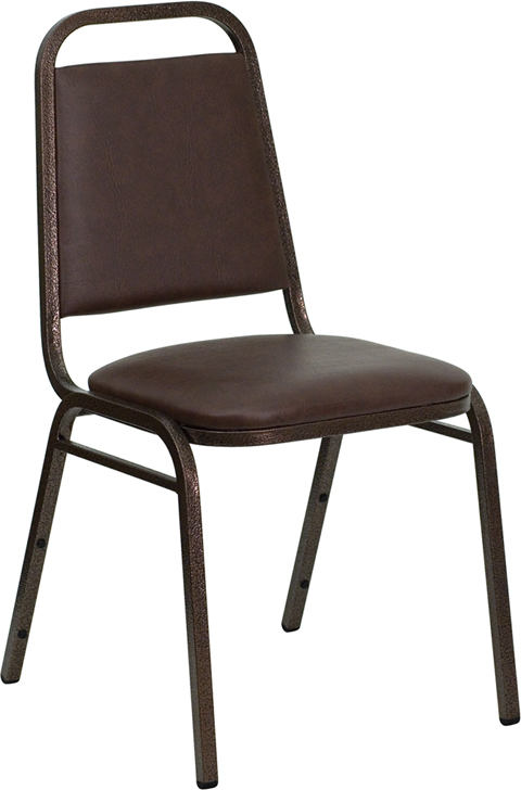 HERCULES Series Trapezoidal Back Stacking Banquet Chair with Brown Vinyl and 1.5'' Thick Seat - Copper Vein Frame