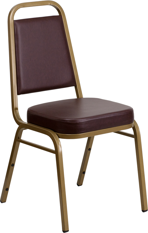 HERCULES Series Trapezoidal Back Stacking Banquet Chair with Brown Vinyl and 2.5'' Thick Seat - Gold Frame