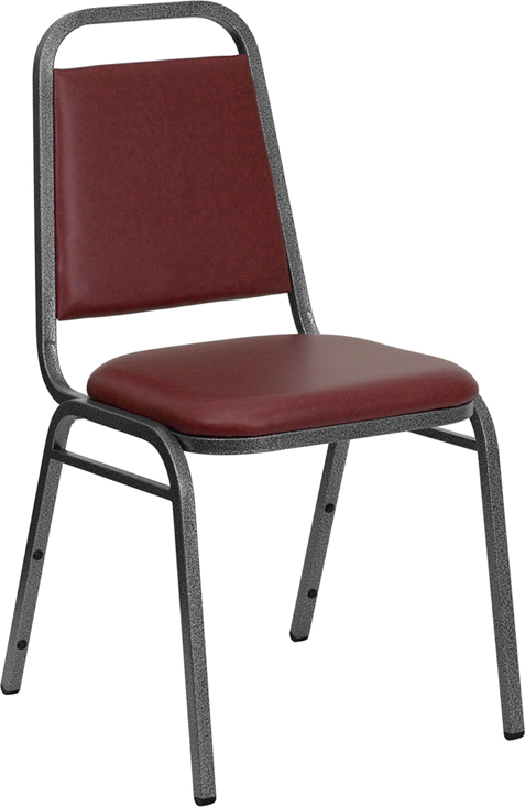 HERCULES Series Trapezoidal Back Stacking Banquet Chair with Burgundy Vinyl and 1.5'' Thick Seat - Silver Vein Frame