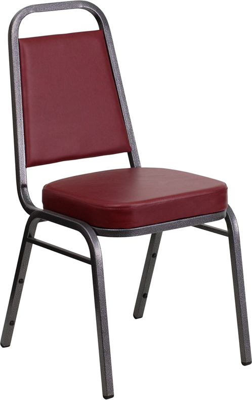 HERCULES Series Trapezoidal Back Stacking Banquet Chair with Burgundy Vinyl and 2.5'' Thick Seat - Silver Vein Frame