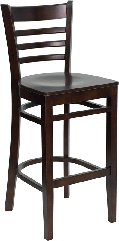 ERGONOMIC HOME TOUGH ENOUGH Series Walnut Finished Ladder Back Wooden Restaurant Barstool <b><font color=green>50% Off Read More Below...</font></b>