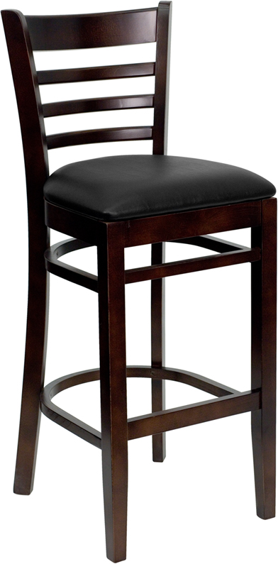 ERGONOMIC HOME TOUGH ENOUGH Series Walnut Finished Ladder Back Wooden Restaurant Barstool - Black Vinyl Seat <b><font color=green>50% Off Read More Below...</font></b>