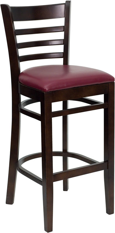 ERGONOMIC HOME TOUGH ENOUGH Series Walnut Finished Ladder Back Wooden Restaurant Barstool - Burgundy Vinyl Seat <b><font color=green>50% Off Read More Below...</font></b>