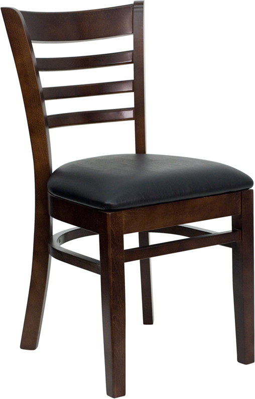ERGONOMIC HOME TOUGH ENOUGH Series Walnut Finished Ladder Back Wooden Restaurant Chair - Black Vinyl Seat <b><font color=green>50% Off Read More Below...</font></b>