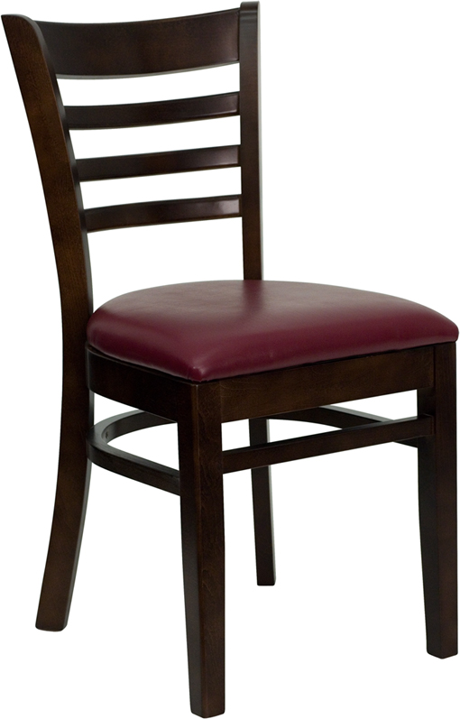 ERGONOMIC HOME TOUGH ENOUGH Series Walnut Finished Ladder Back Wooden Restaurant Chair - Burgundy Vinyl Seat <b><font color=green>50% Off Read More Below...</font></b>