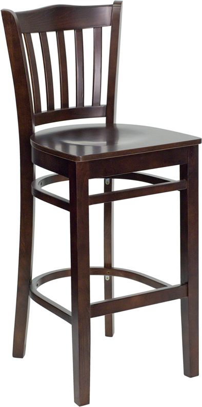 ERGONOMIC HOME TOUGH ENOUGH Series Walnut Finished Vertical Slat Back Wooden Restaurant Barstool <b><font color=green>50% Off Read More Below...</font></b>