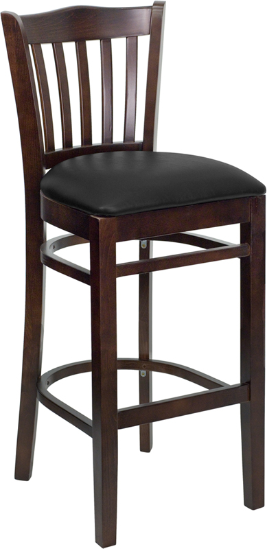 ERGONOMIC HOME TOUGH ENOUGH Series Walnut Finished Vertical Slat Back Wooden Restaurant Barstool - Black Vinyl Seat <b><font color=green>50% Off Read More Below...</font></b>
