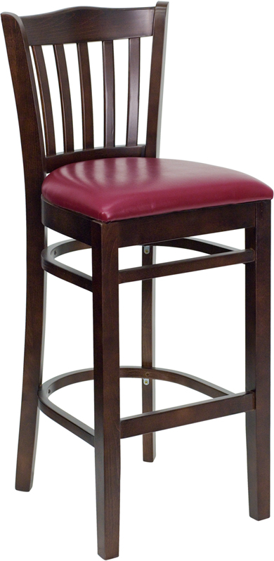 ERGONOMIC HOME TOUGH ENOUGH Series Walnut Finished Vertical Slat Back Wooden Restaurant Barstool - Burgundy Vinyl Seat <b><font color=green>50% Off Read More Below...</font></b>