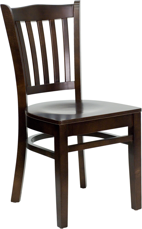 ERGONOMIC HOME TOUGH ENOUGH Series Walnut Finished Vertical Slat Back Wooden Restaurant Chair <b><font color=green>50% Off Read More Below...</font></b>