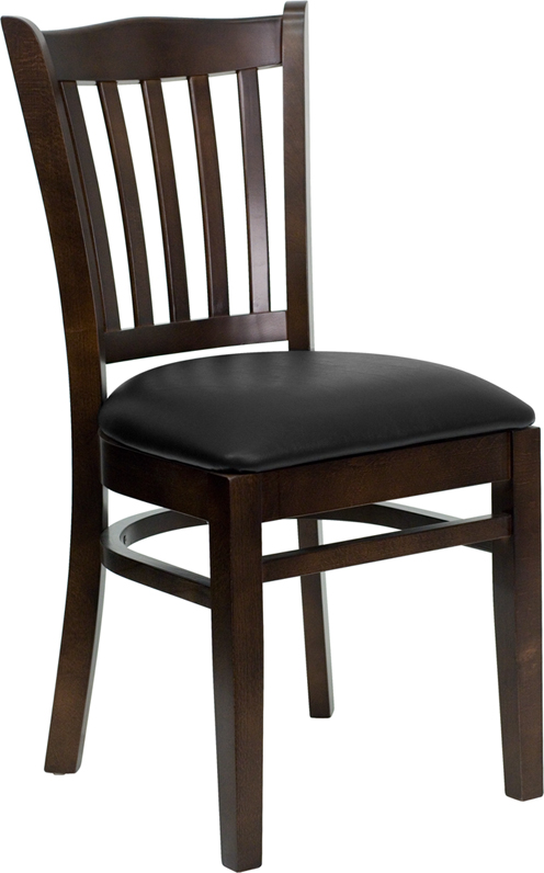 ERGONOMIC HOME TOUGH ENOUGH Series Walnut Finished Vertical Slat Back Wooden Restaurant Chair - Black Vinyl Seat <b><font color=green>50% Off Read More Below...</font></b>