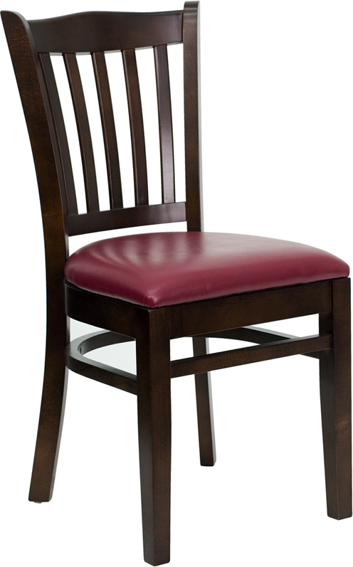 ERGONOMIC HOME TOUGH ENOUGH Series Walnut Finished Vertical Slat Back Wooden Restaurant Chair - Burgundy Vinyl Seat <b><font color=green>50% Off Read More Below...</font></b>