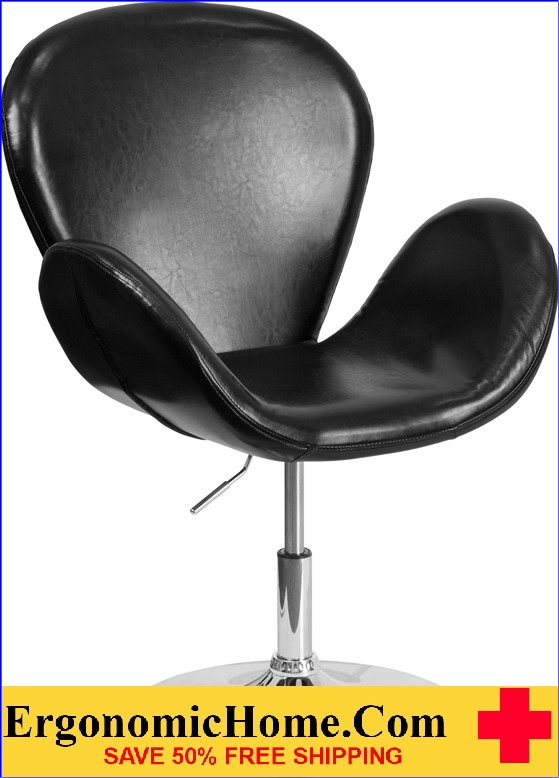 Ergonomic Home TOUGH ENOUGH Trestron Series Black Leather Reception Chair with Adjustable Height Seat <b><font color=green>50% Off Read More Below...</font></b>