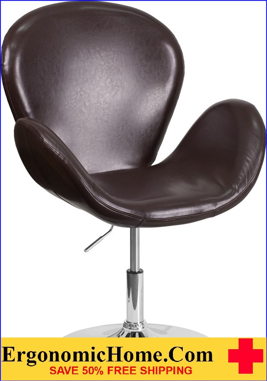 Ergonomic Home TOUGH ENOUGH Trestron Series Brown Leather Reception Chair with Adjustable Height Seat <b><font color=green>50% Off Read More Below...</font></b></font></b>