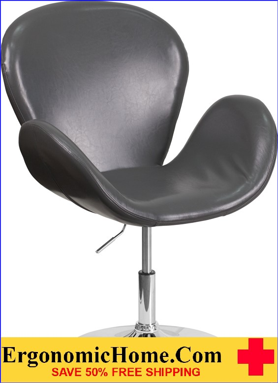 Ergonomic Home TOUGH ENOUGH Trestron Series Gray Leather Reception Chair with Adjustable Height Seat <b><font color=green>50% Off Read More Below...</font></b></font></b>