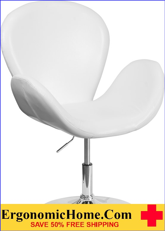 Ergonomic Home Trestron Series White Leather Reception Chair with Adjustable Height Seat <b><font color=green>50% Off Read More Below...</font></b></font></b>