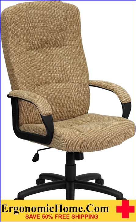 Ergonomic Home High Back Beige Fabric Executive Swivel