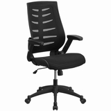 High Back Black Designer Mesh Executive Swivel Office Chair with Height Adjustable Flip-Up Arms.