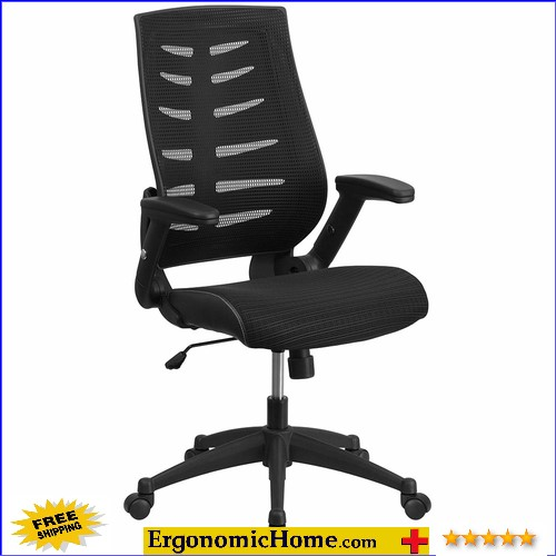 Ergonomic Home High Back Black Designer Mesh Executive Swivel Office Chair with Height Adjustable Flip-Up Arms EH-BL-ZP-809-BK-GG <b><font color=green>50% Off Read More Below...</font></b>