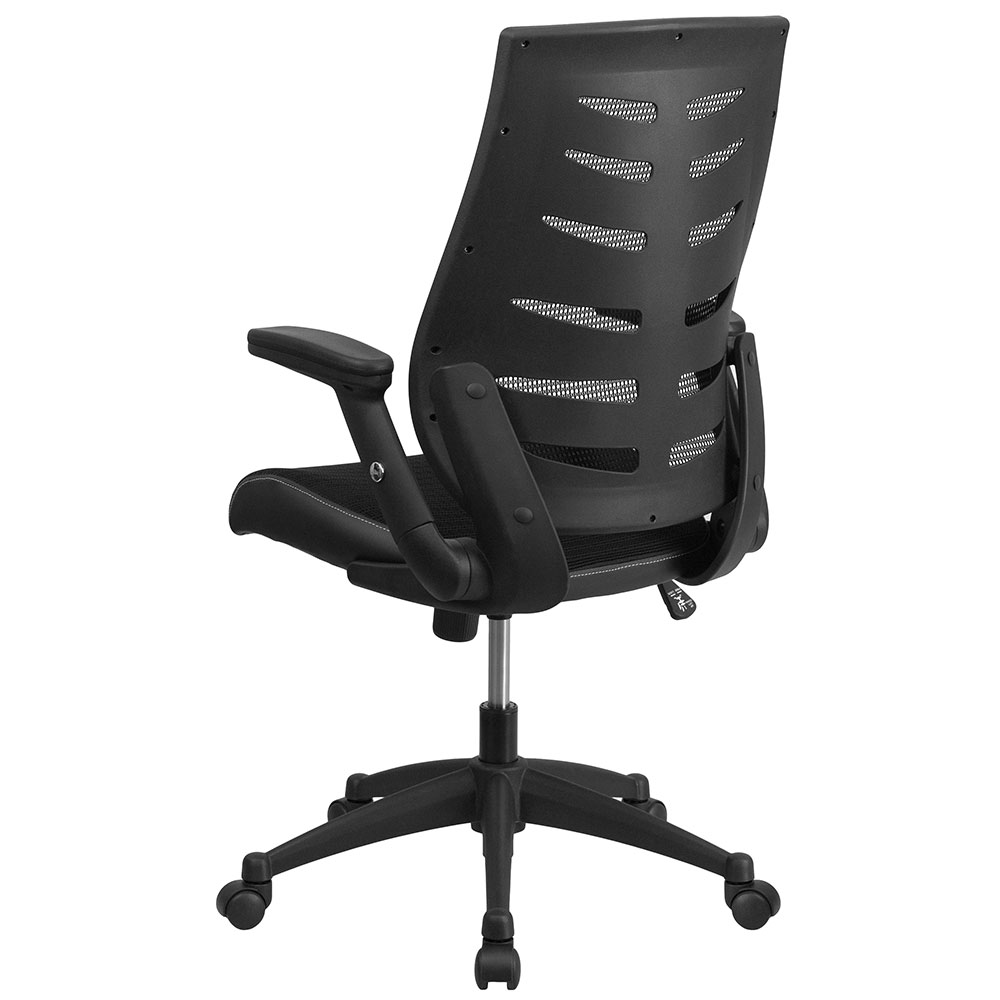 Ergonomic Home High Back Black Designer Mesh Executive Swivel Office Chair With Height Adjule Flip Up Arms Eh Bl Zp 809 Bk Gg 50 Off Below