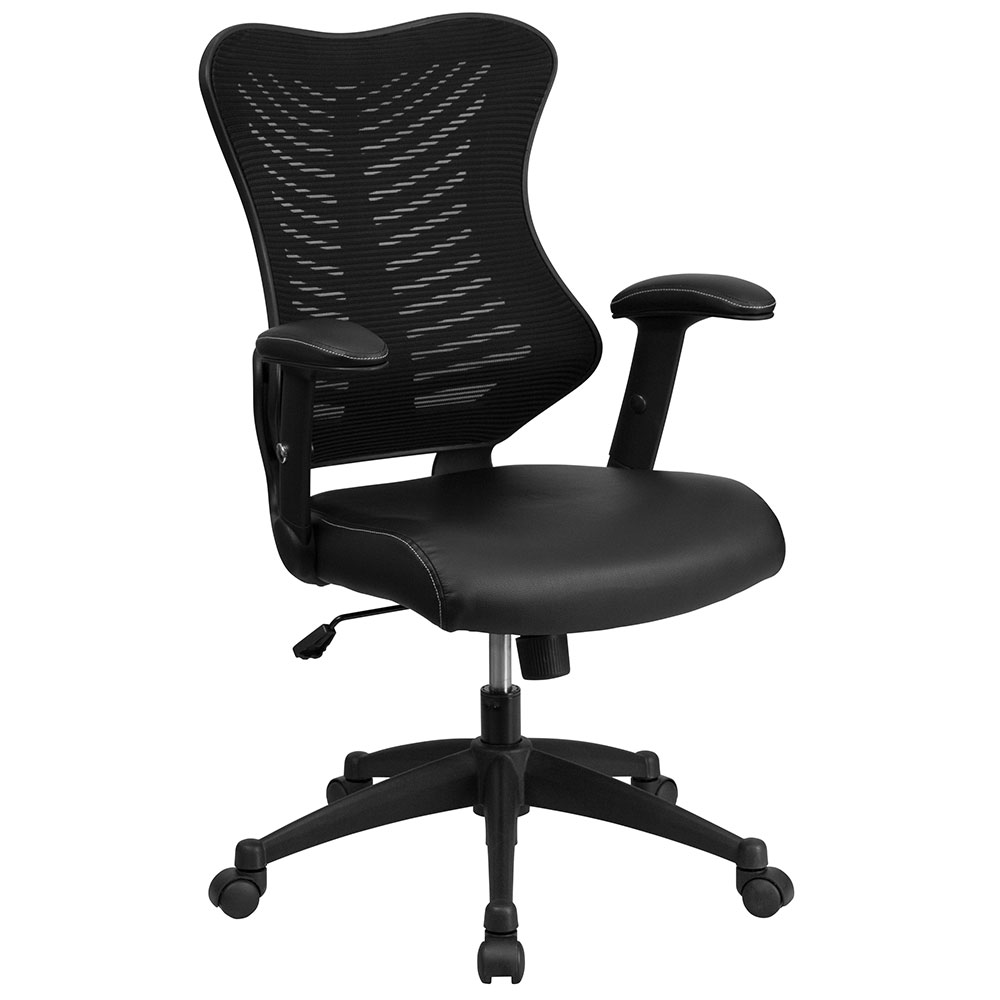 Ergonomic Home High Back Black Designer Mesh Executive Swivel Office Chair With Leather Padded Seat