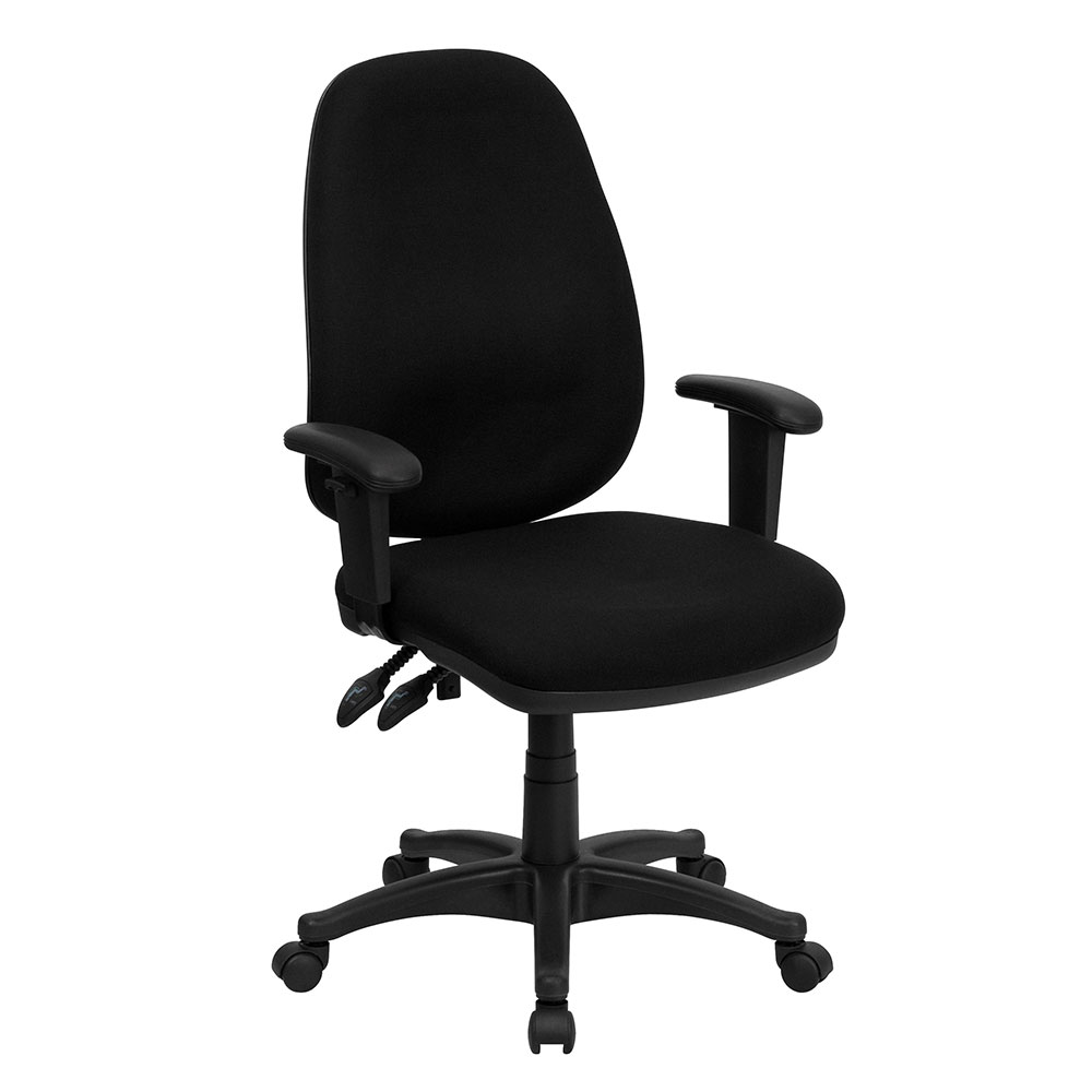Fabric Guest Chairs High Back Black Fabric Executive Ergonomic Swivel Office ...