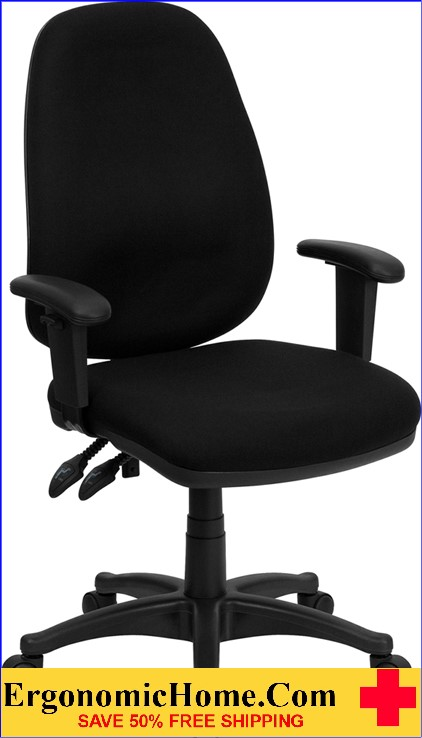 Ergonomic Home High Back Black Fabric Executive Ergonomic Swivel Office Chair with Height Adjustable Arms <b><font color=green>50% Off Read More Below...</font></b>