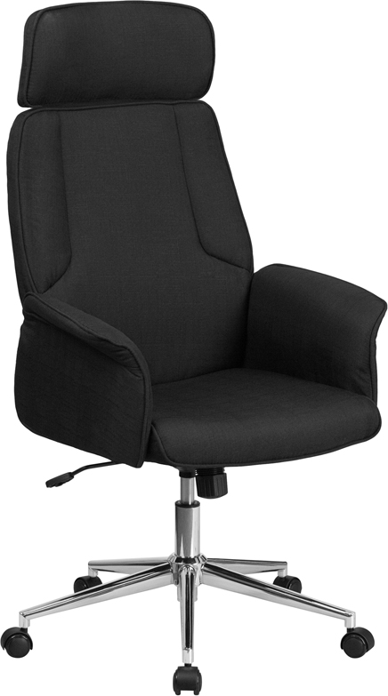 High Back Black Fabric Executive Swivel Office Chair with Chrome Base