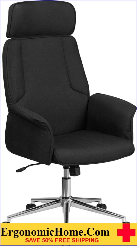 Ergonomic Home High Back Black Fabric Executive Swivel Office Chair with Chrome Base <b><font color=green>50% Off Read More Below...</font></b>