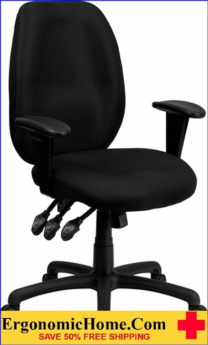 Ergonomic Home High Back Black Fabric Multi-Functional Ergonomic Executive Swivel Office Chair with Height Adjustable Arms <b><font color=green>50% Off Read More Below...</font></b></font></b>