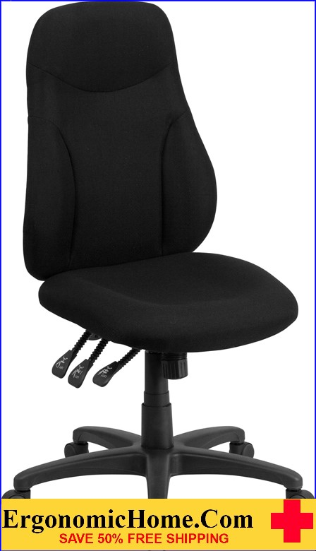 Ergonomic Home High Back Black Fabric Multi-Functional Swivel Task Chair <b><font color=green>50% Off Read More Below...</font></b>