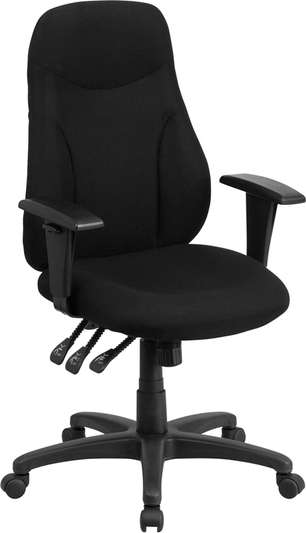 Ergonomic Home High Back Black Fabric Multi-Functional Swivel Task Chair with Height Adjustable Arms <b><font color=green>50% Off Read More Below...</font></b>