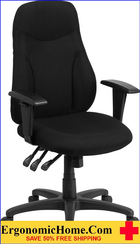 Ergonomic Home High Back Black Fabric Multi-Functional Swivel Task Chair with Height Adjustable Arms <b><font color=green>50% Off Read More Below...</font></b></font></b>