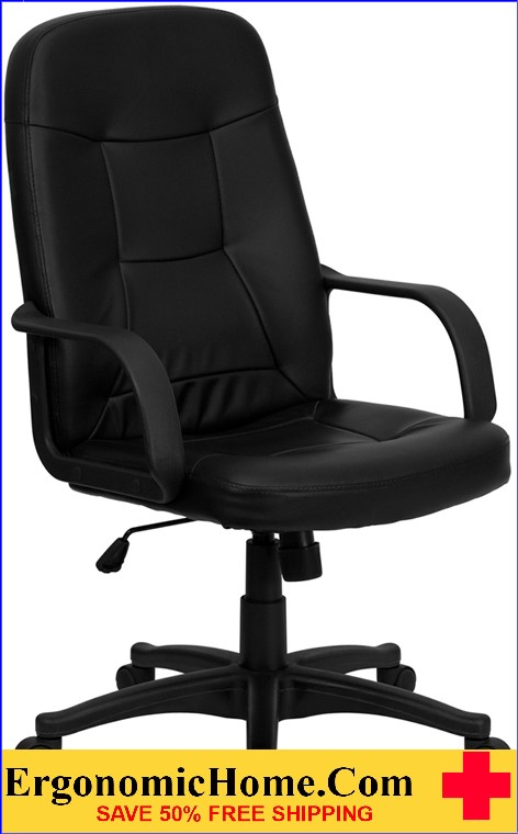 High Back Black Glove Vinyl Executive Swivel Office Chair with Arms