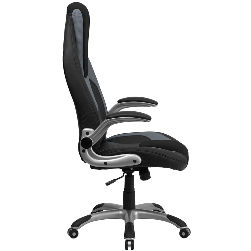 Ergonomic Home High Back Black Gray Vinyl Executive Swivel Office Chair With Mesh Insets And Flip Up Arms