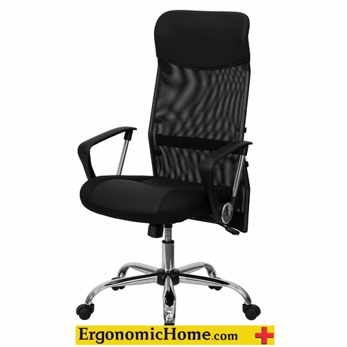 Ergonomic Home High Back Black Leather and Mesh Swivel Task Chair EH-BT-905-GG <b><font color=green>50% Off Read More Below...</font></b>