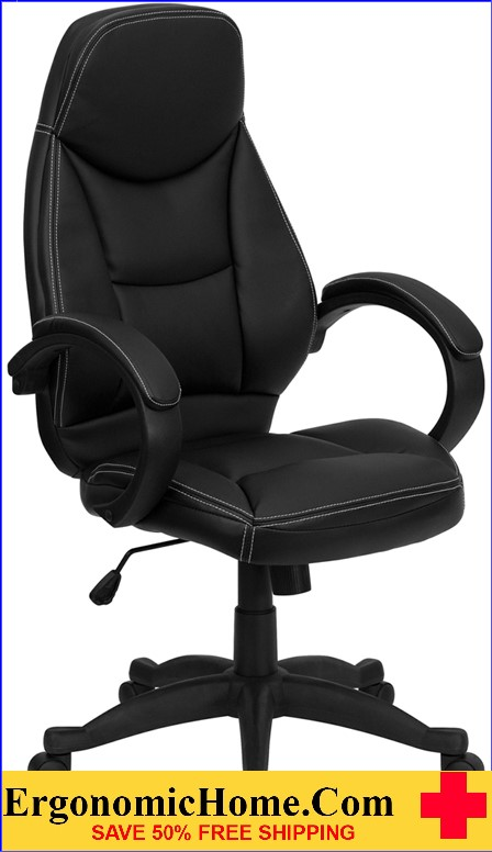 Ergonomic Home High Back Black Leather Contemporary Executive Swivel Office Chair <b><font color=green>50% Off Read More Below...</font></b>
