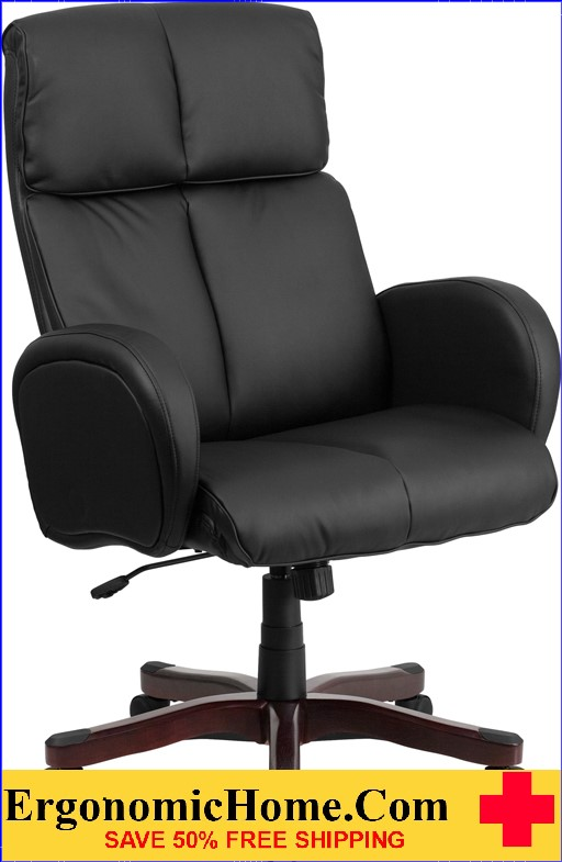 Ergonomic Home High Back Black Leather Executive Swivel Office Chair with Fully Upholstered Arms .