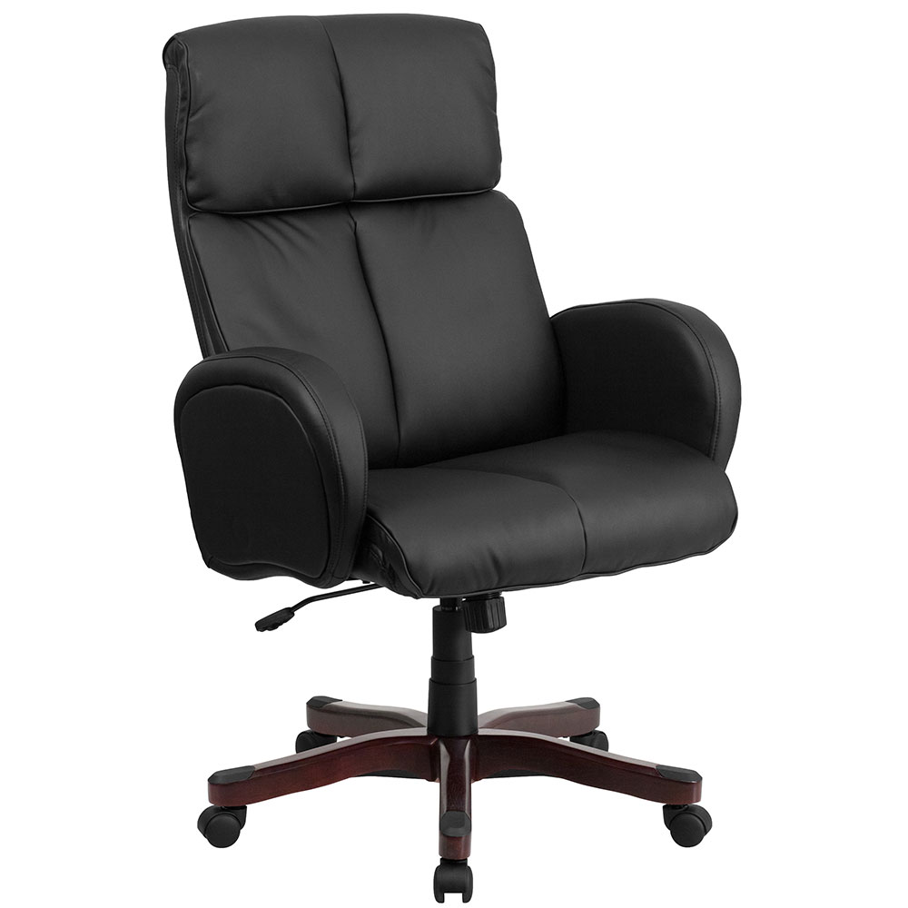 High Back Black Leather Executive Swivel Office Chair with Fully Upholstered Arms