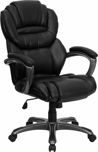 Ergonomic Home High Back Black Leather Executive Swivel Office Chair with Leather Padded Loop Arms <b><font color=green>50% Off Read More Below...</font></b>
