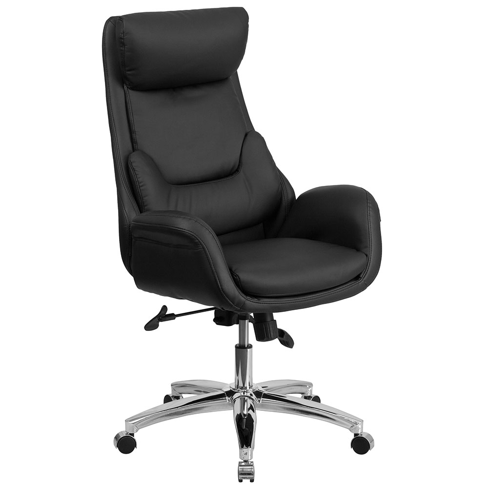 high back black leather executive swivel office chair with lumbar pillow. Black Bedroom Furniture Sets. Home Design Ideas